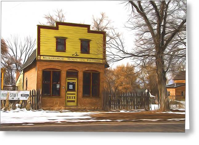 Pottery Studio Building Painterly Impressions Greeting Card
