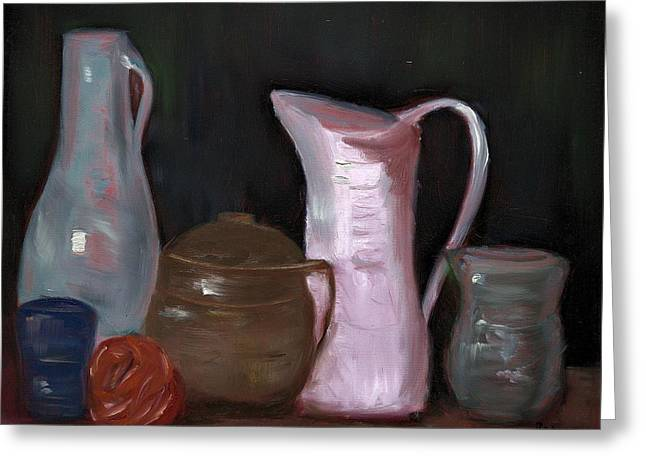 Pottery, Vases And Pitchers - Still Life Greeting Card by Bernadette Krupa