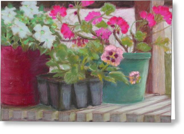 Potting Bench Greeting Card by Julie Mayser