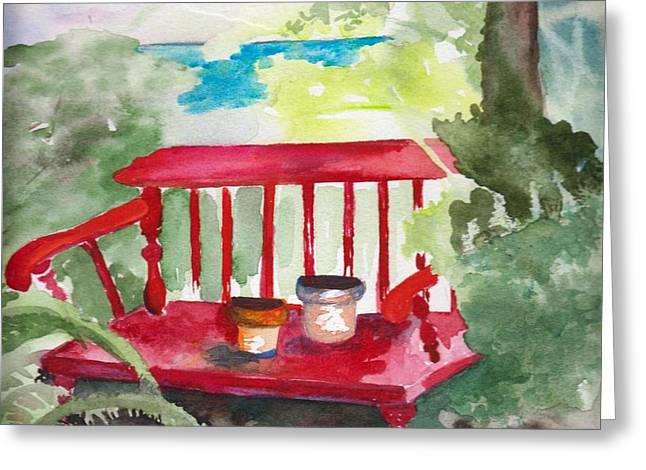 Potting Bench Greeting Card by Sandi Stonebraker