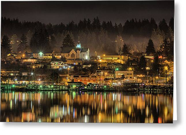 Poulsbo Waterfront 5 Greeting Card by Wally Hampton