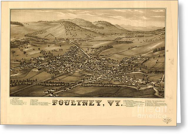 Poultney Vermont Map Vintage Greeting Card