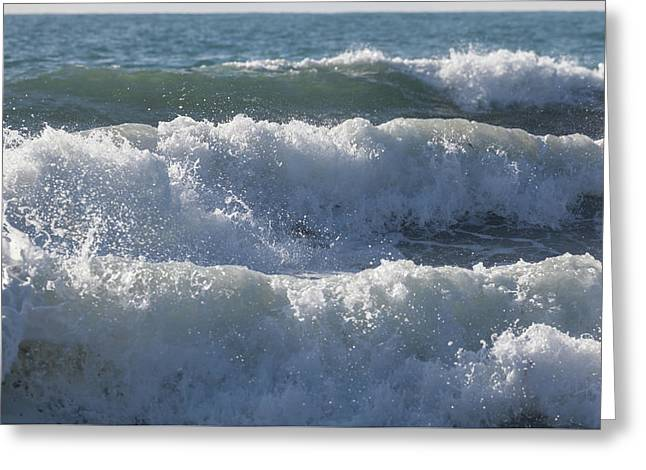 Greeting Card featuring the photograph Pounding Surf by Cliff Wassmann