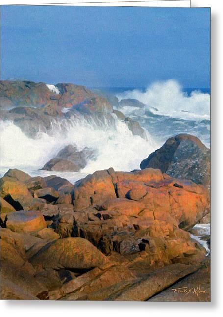 Pounding Surf Greeting Card by Frank Wilson