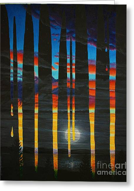Poured Sunset On A Moonlit Night Greeting Card by Don Evans
