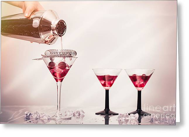Pouring A Cocktail Greeting Card by Amanda Elwell