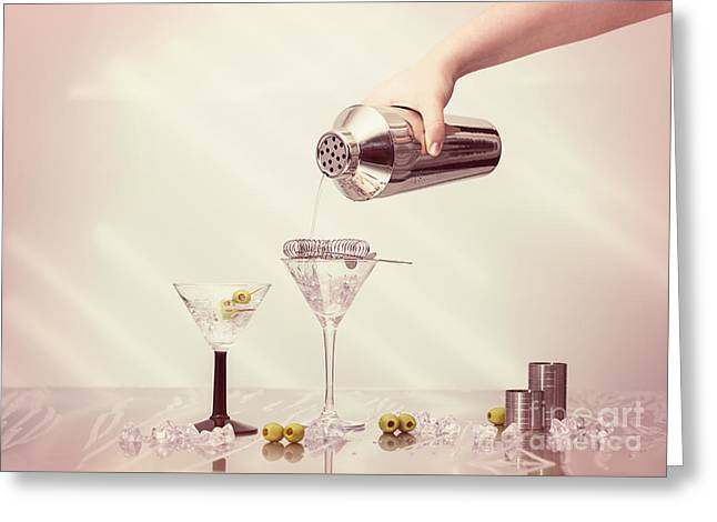 Pouring A Martini Greeting Card by Amanda Elwell