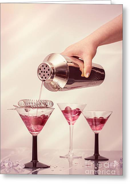 Pouring Cocktails Greeting Card by Amanda Elwell