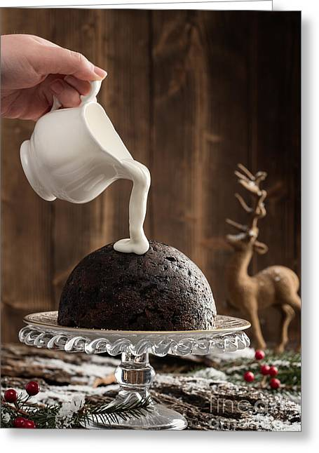 Pouring Cream Over Christmas Pudding Greeting Card by Amanda Elwell