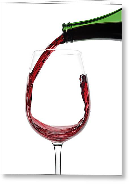 Pouring Red Wine Greeting Card by Simon Belcher