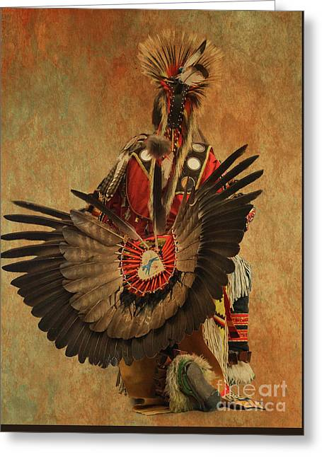 Greeting Card featuring the mixed media Pow Wow 2 by Jim  Hatch