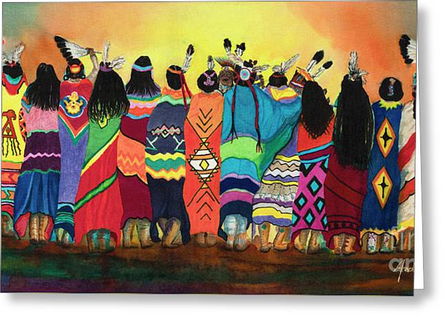 Pow Wow Blanket Dancers Greeting Card by Anderson R Moore