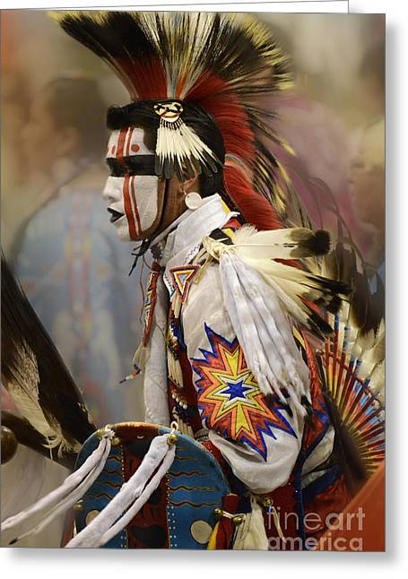Jingle Greeting Cards - Pow Wow First Nation Dancer Greeting Card by Bob Christopher