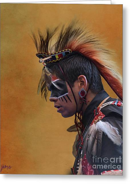Greeting Card featuring the mixed media Pow Wow by Jim  Hatch