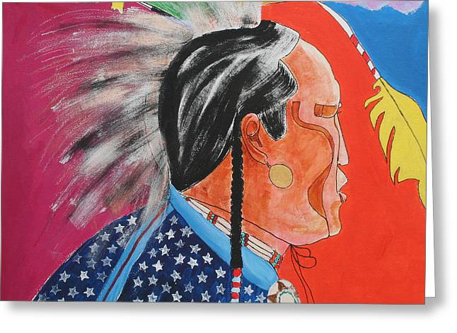 Greeting Card featuring the painting Pow Wow by Mordecai Colodner