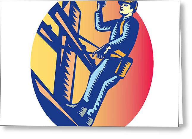 Power Lineman Electric Post Waving Oval Woodcut Greeting Card by Aloysius Patrimonio