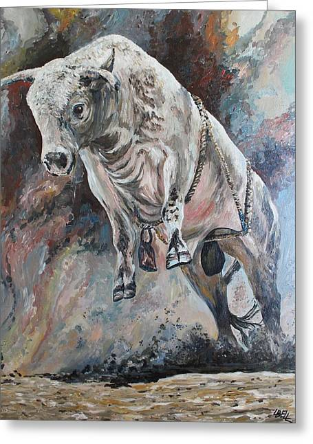 Power Of The Bull Greeting Card by Leonie Bell
