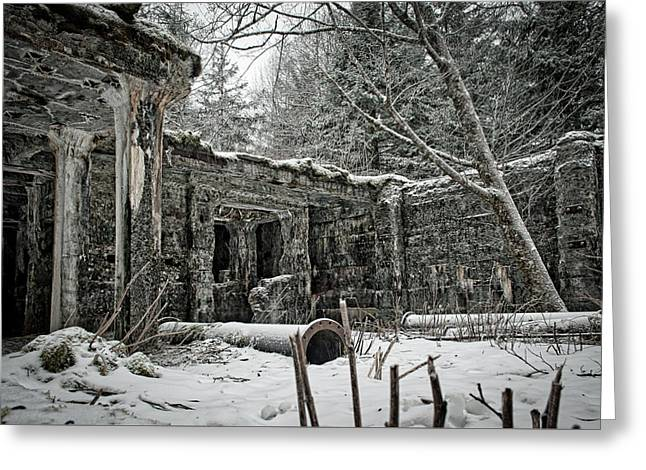 Power Plant In Winter Greeting Card by Cathy Mahnke