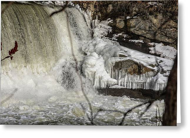 Power Station Falls On Black River  Greeting Card