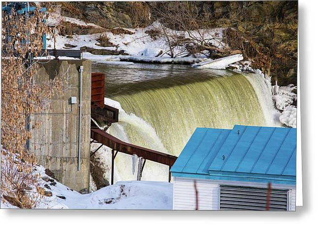 Power Station Falls On Black River Two Greeting Card