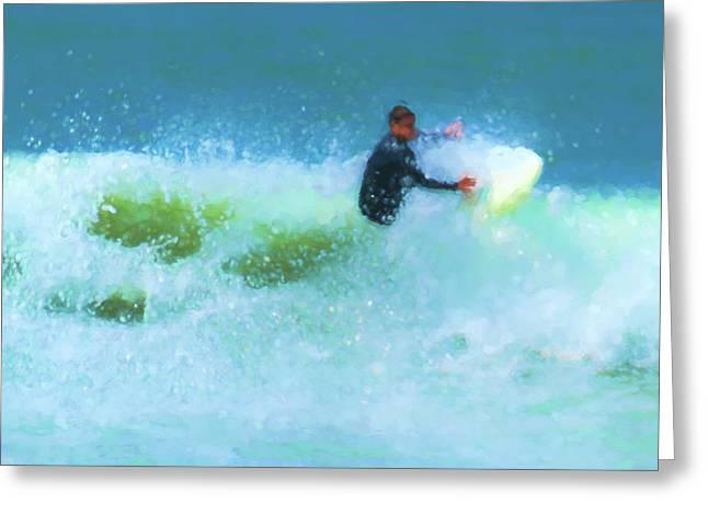Power Through Surfing Watercolor Greeting Card