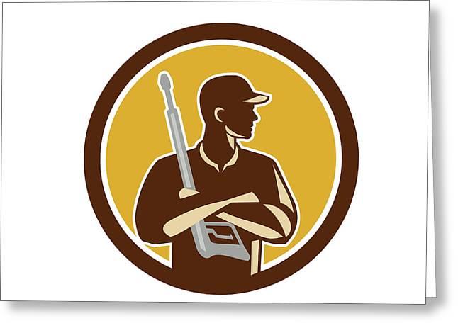 Power Washer Arms Crossed Pressure Washing Gun Circle Retro Greeting Card by Aloysius Patrimonio