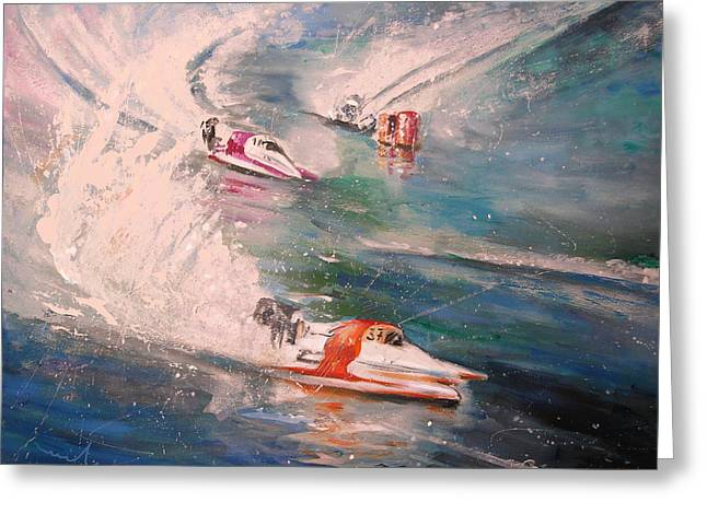 Powerboat Racing In Portugal Greeting Card by Miki De Goodaboom