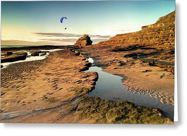 Powered Paraglider Over Bundoran Main Beach At Sunset Greeting Card
