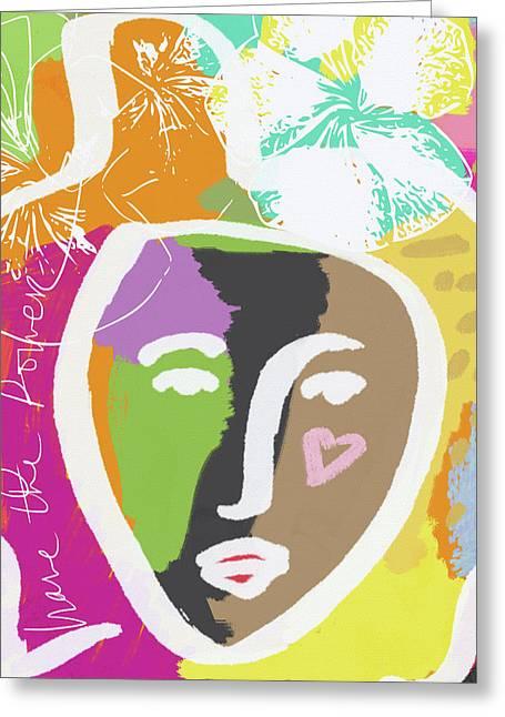 Powerful Girl- Art By Linda Woods Greeting Card by Linda Woods