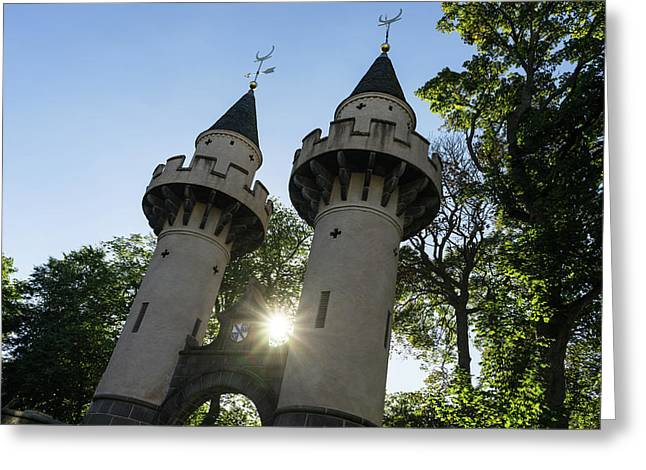 Powis Gates Rainbow Colored Sunburst - Old Aberdeen Scotland Architectural Delights Greeting Card by Georgia Mizuleva