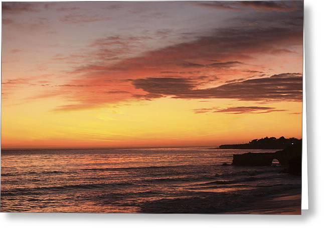 pr 239 - Sunset at Santa Cruz Greeting Card by Chris Berry