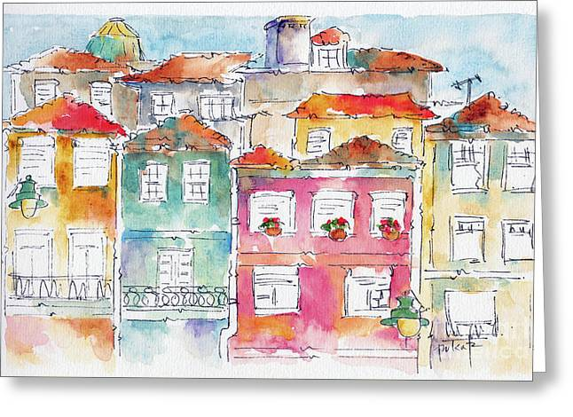 Praca Da Ribeira Porto Greeting Card by Pat Katz