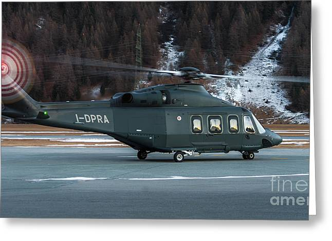 Prada Helicopter At St. Moritz Airport Greeting Card by Roberto Chiartano