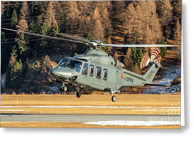 Agusta Aw-139 Prada Helicopter I-dpra Greeting Card by Roberto Chiartano