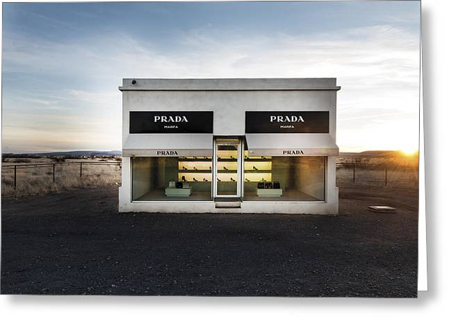 Prada Marfa Is A Permanently Installed Sculpture By Elmgreen And Dragset Near The Town Of Valentine Greeting Card by Carol M Highsmith