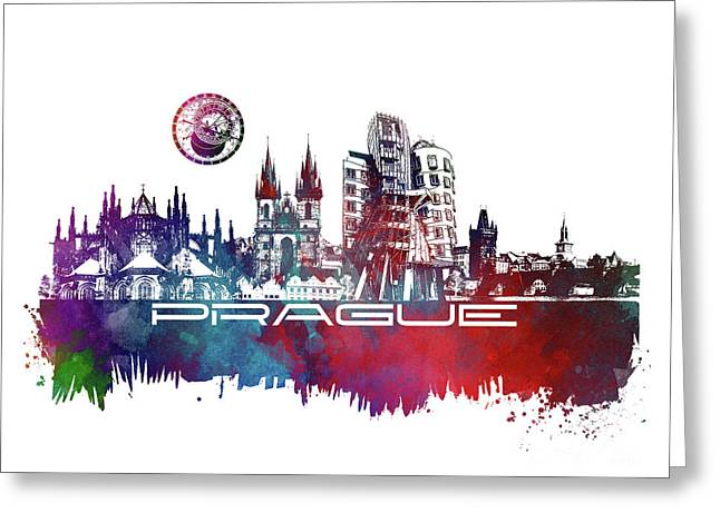 Prague Art Skyline Greeting Card