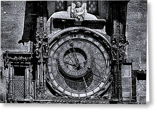 Prague Astronomical Clock 2 Bw Greeting Card by C H Apperson