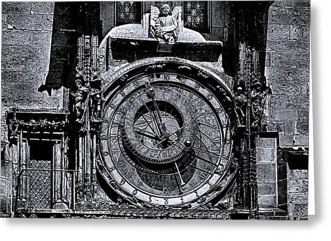 Prague Astronomical Clock 2 Bw Greeting Card