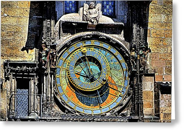 Prague Astronomical Clock 2 Greeting Card by C H Apperson