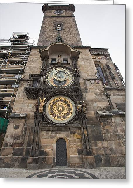 Prague Astronomical Clock Greeting Card by Andre Goncalves