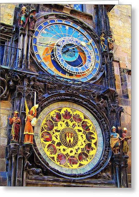 Prague Astronomical Clock Greeting Card by Andreas Thust