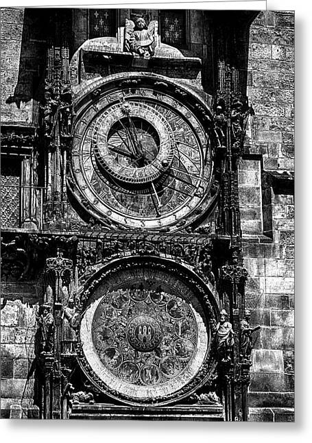 Prague Astronomical Clock Bw Greeting Card by C H Apperson