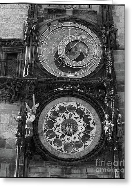 Prague Astronomical Clock In B/w Greeting Card