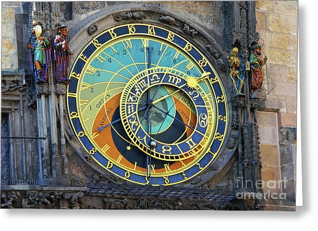 Prague Astronomical Clock Greeting Card by Mariola Bitner
