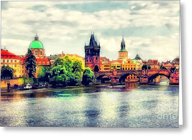 Prague Bridge Watercolor Greeting Card by Justyna JBJart