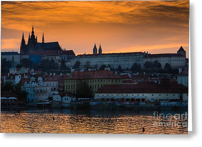 Prague Castle Evening View Greeting Card
