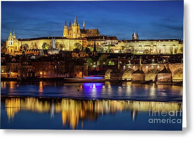Prague Castle, Hradcany Reflecting In Vltava River In Prague, Czech Republic At Night Greeting Card by Michal Bednarek