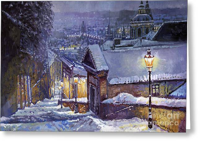 Prague Castle Steps Winter   Greeting Card by Yuriy Shevchuk