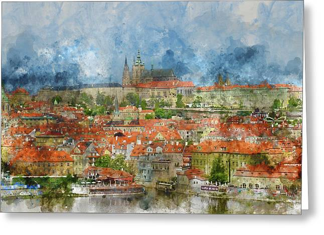 Prague Castle With Famous Charles Bridge In Czech Republic Greeting Card by Brandon Bourdages