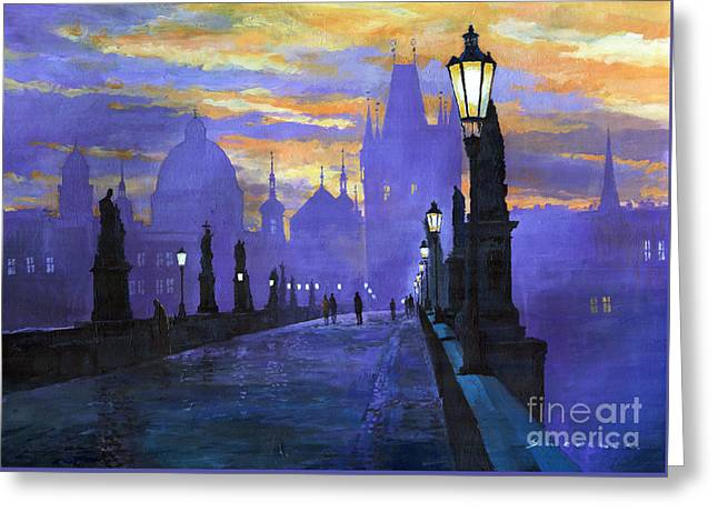 Sunrise greeting cards fine art america prague charles bridge sunrise greeting card m4hsunfo